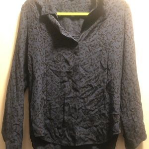 Theory blue and black leopard blouse